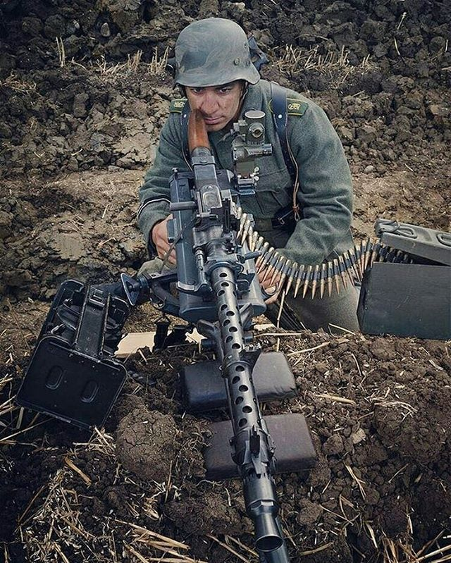 """the_ww2_memoirs A German reenactor, depicting as a MG-34 Gunner of the infamous """"Grossdeutchland"""" Division. Today's post will be about the importance and roll, dynamics, etc of a German machine gun unit at the Kompanie, Battaltion, and Regimental levels. First off let's discuss the main MGs of the German army when the war started, those would be the MG 34, MG15, and even the WW1 Era MG 0/8 which was issued to reserve units. At the Kompanie level the machine gun would be the MG-34 (or…"""