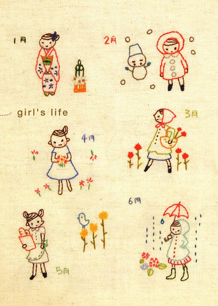 mi。可爱卡通刺绣。