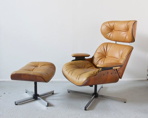 Mid century modern eames style lounge chair and ottoman by selig plycraft beige leather 50s - Selig eames chair ...