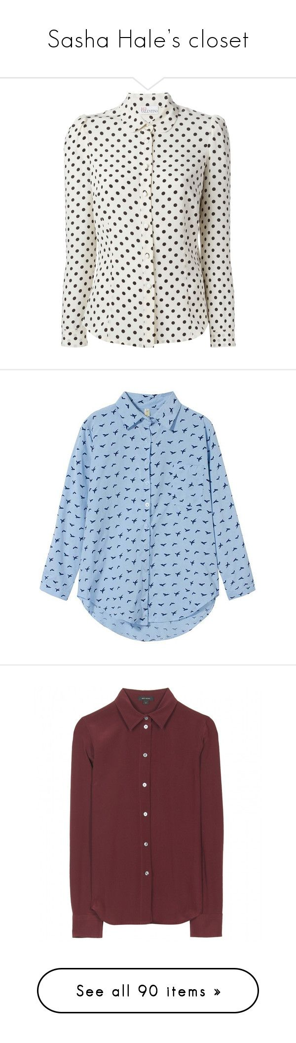 """Sasha Hale's closet"" by samtiritilli ❤ liked on Polyvore featuring tops, blouses, shirts, long sleeves, polka dot long sleeve shirt, peter pan collar shirts, ivory blouse, button front shirt, silk blouse and long-sleeve crop tops"