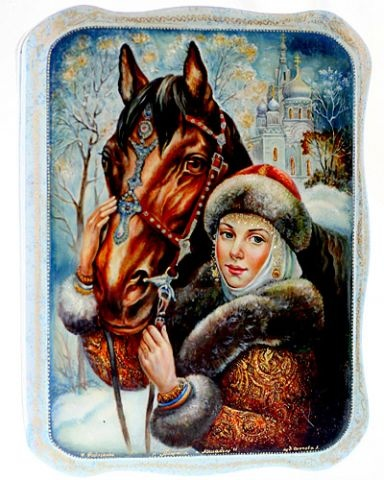 village FEDOSKINO. THE VARNISH MINIATURE. Unique small boxes-scene from russian life