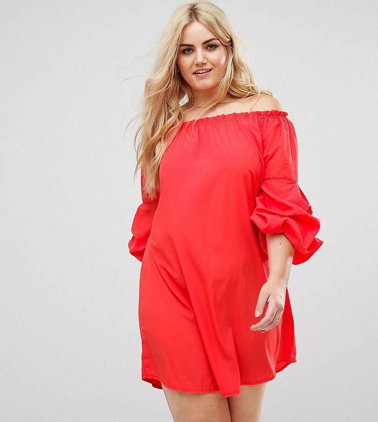 AX Paris Plus Ruffle Sleeve Bardot Dress - Red