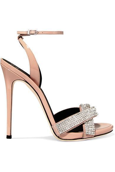 190cb5ce021d5 Giuseppe Zanotti - Suede-trimmed Crystal-embellished Patent-leather Sandals  - Blush | Giuseppe zanotti Heels | Pinterest | Shoes, Leather sandals and  Heels