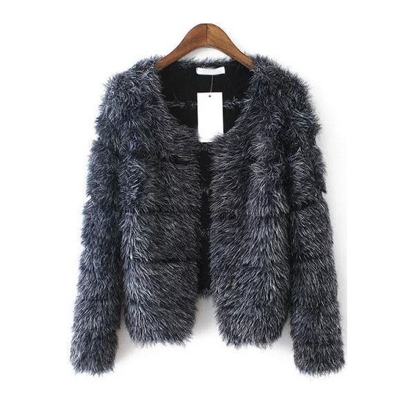 SheIn(sheinside) Grey Long Sleeve Striped Faux Fur Coat ($36) ❤ liked on Polyvore featuring outerwear, coats, jackets, fur, grey, stripe coat, grey coat, grey faux fur coat, cropped faux fur coat and grey collarless coat