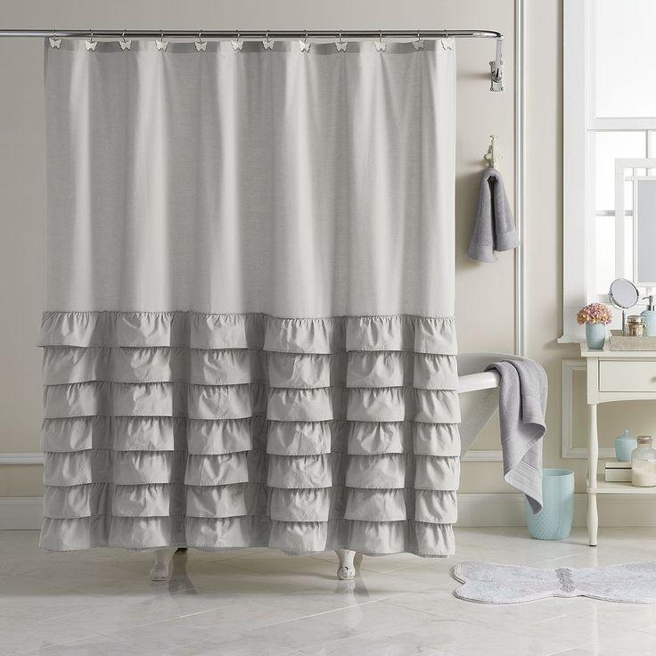 LC Lauren Conrad Ella Ruffle Fabric Shower Curtain, Grey
