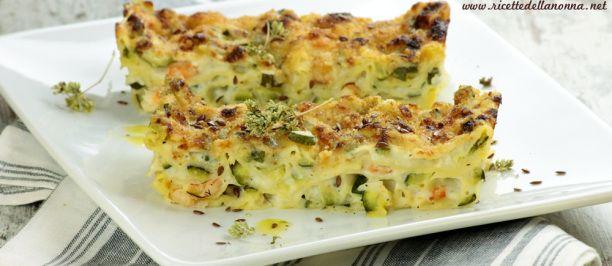 Lasagne bianche con gamberetti e zucchine