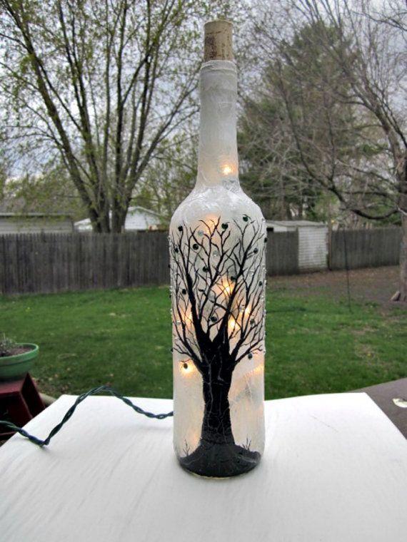 Wine Bottle Light Night Light Hand Painted Wine by GlassGaloreGal, $22.00