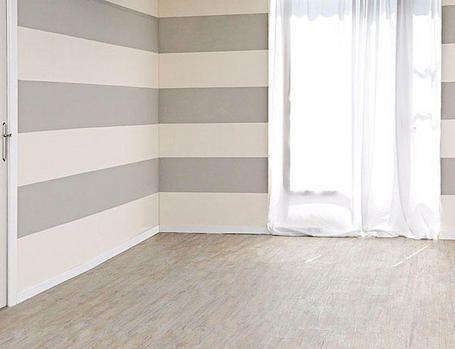 Livingroom Inspiration: Horizontal Painted grey Stripe Walls