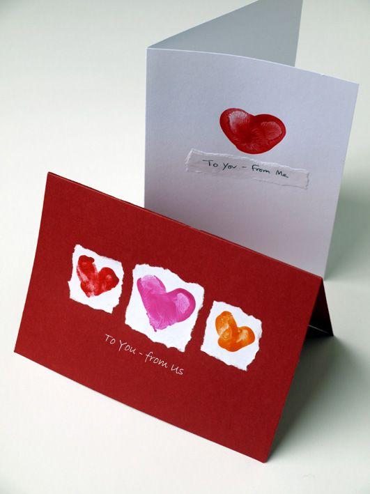 Simple Fingerprint Valentine Cards: Homemade Kids Valentines Cards, Cards Ideas, Kids Simple Valentines Cards, For Kids, Fingerprints Art, Diy Kids Fingerprints Cards, Fingerprints Valentines, Valentines Day Cards, Heart Cards
