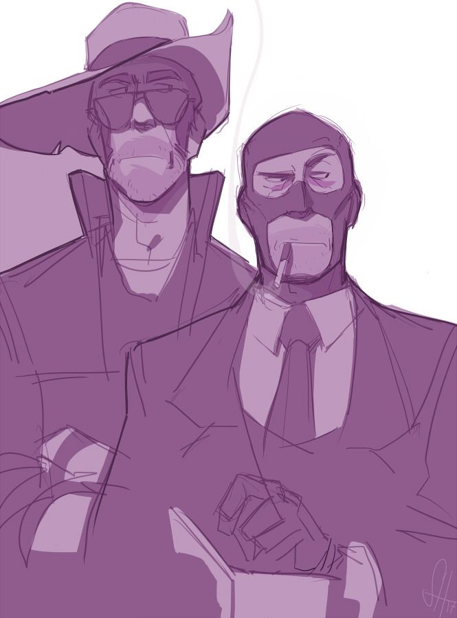Sniper and Spy by Wachtelspinat I love how sniper is so tall