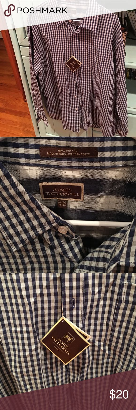 Button down Blue and white checkered long sleeve button down, NWT perfect condition! james tattersall Shirts Dress Shirts