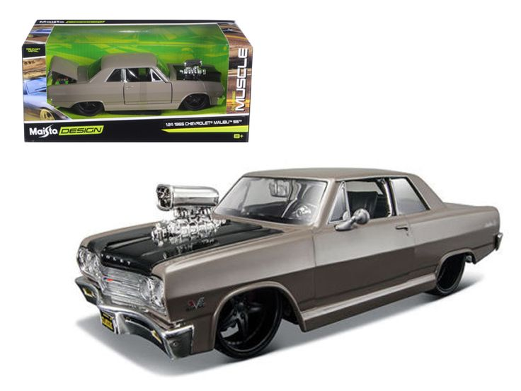 """1965 Chevrolet Malibu SS Grey """"Classic Muscle"""" 1/24 Diecast Model Car by Maisto - Brand new 1:24 scale diecast car model of 1965 Chevrolet Malibu SS Grey """"Classic Muscle"""" die cast car by Maisto. Brand new box. Rubber tires. Detailed interior, exterior. Has opening hood, doors and trunk. Made of diecast with some plastic parts. Dimensions approximately L-8,W-3.5,H-3 inches. Please note that manufacturer may change packing box at anytime. Product will stay exactly the same.-Weight: 2. Height…"""