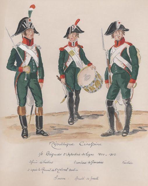 Republique Cisalpine;  1/2 Brigades d'Inf de Ligne. officier de Fusiliers, tambour de Grenadiers, fusilier.