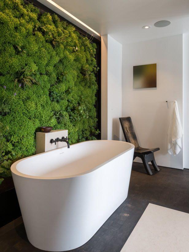Live wall with moss; modern, rustic, green bathroom - need