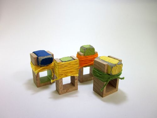 Karen Vanmol Rings: Under construction 2010 Wood, concrete, paint, cotton, silver 2.5 cm x 4 cm x 3.5 cm