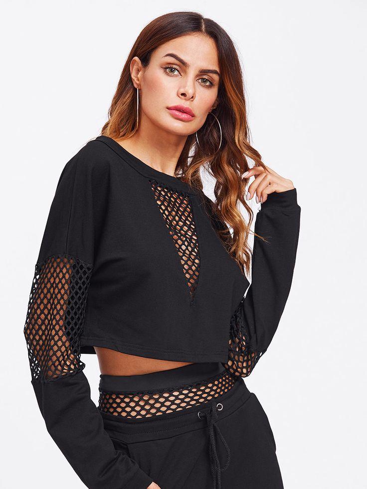 Shop Fishnet Panel Crop Sweatshirt online. SheIn offers Fishnet Panel Crop Sweatshirt & more to fit your fashionable needs.