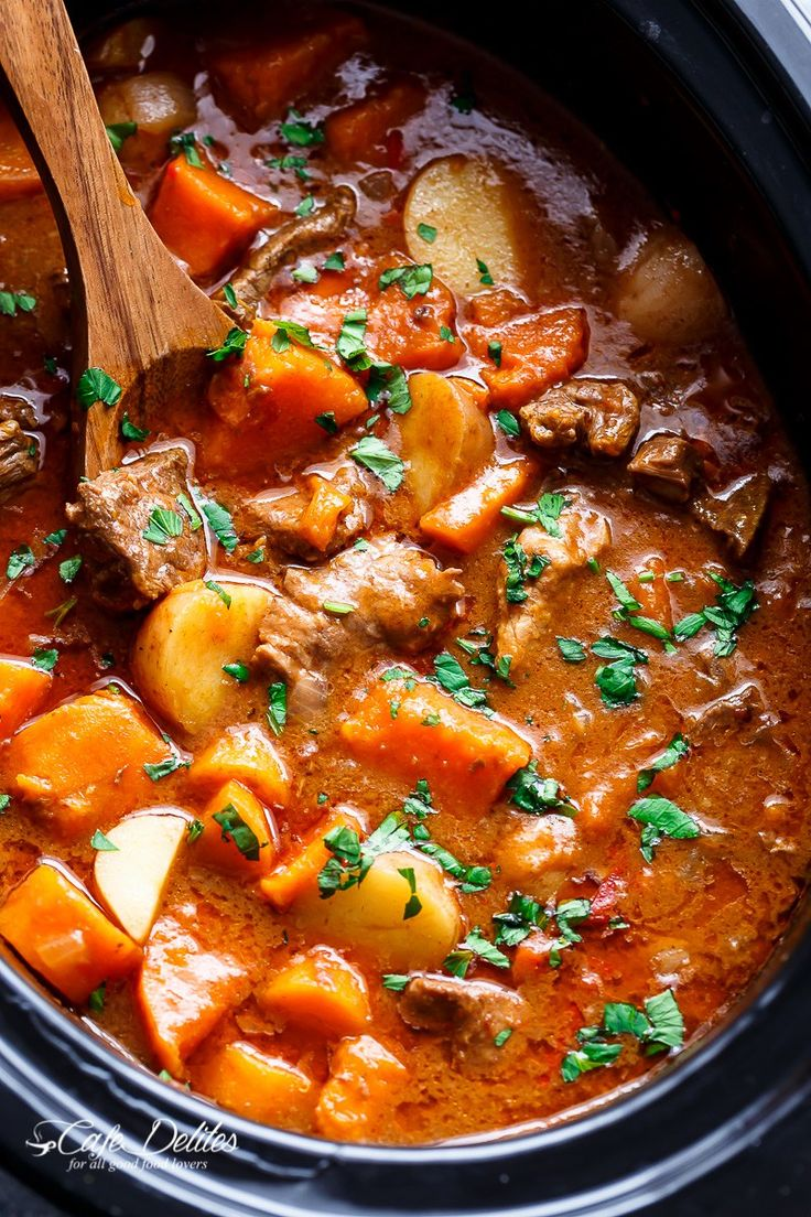 Slow Cooker Beef & Sweet Potato Stew - Cafe Delites