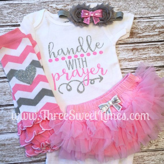 Handle With Prayer Bodysuit | Optional Leg Warmers Bow Set | Communion Outfit | Jesus Loves Me | Baby Girl Outfit | Pink And Silver Glitter