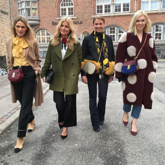 The always gorgeous ELLE Denmark Ladies at Copenhagen Fashion Week, looking stunning! Mie Juel is wearing Pieszak Autumn 2016 Army green Coat and White shirt  Laura Lawaetz is wearing Pieszak basic jeans - Marija Flares! Women's Jeans - http://amzn.to/2i8XN7s