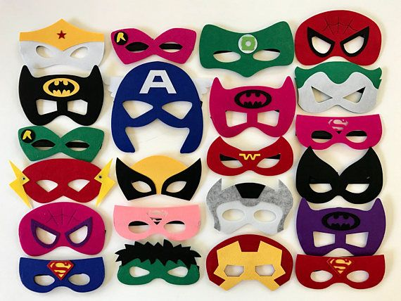 This listing is for Superhero mask Party Packs, sold in amounts of 10, 15, 20, 25, 30 or 50. For custom amounts please message me. Masks elastic band fits all ages. 9 Different Girl Characters Available 13 Different Boy Characters Available Please include your party date, and the amount of girl masks you would like, in the notes to seller. Visit my shop: http://www.etsy.com/shop/YourPartyMarketplace For custom listings feel free to message me.