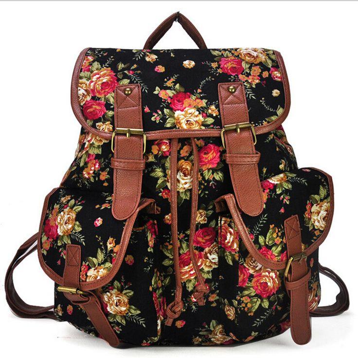 Vintage impressão mochila de lona mochilas escolares mochilas para adolescentes saco de mulheres bookschool mochila bolsas feminina em Mochilas de Bolsas e Malas no AliExpress.com | Alibaba Group