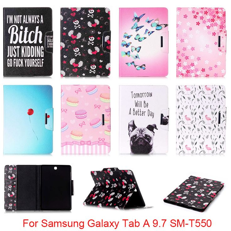 For Samsung Galaxy Tab A 9.7 SM-T550 T550 T551 T555 Cute Cartoon Dog Love Skull Pattern Folio PU Leather Protector Back Cover
