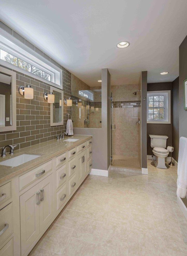 Transom Window Bathroom Traditional With Beige Bathroom Vanity Beige Cabinets Beige Countertop