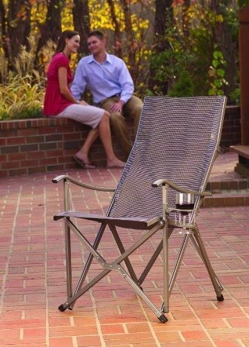 Patio Sling Chair With Cup Holder Outdoor Folding Aluminum Chairs Yard Furniture #PatioSlingChair
