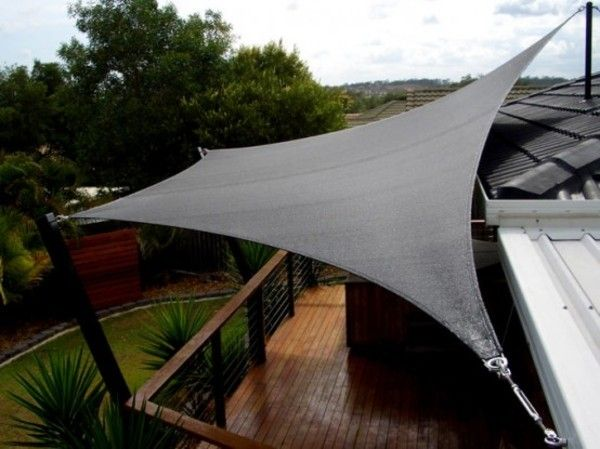 Permanent Link To : Outdoor Shade Sails With Black Color To Protect From UV  Ray And