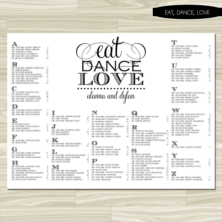 Wedding Seating Chart (Eat, Dance, Love)   Digital File, DIY, Printable,  Pdf, Calligraphy, Eat Drink And Be Married, Black And White, Modern