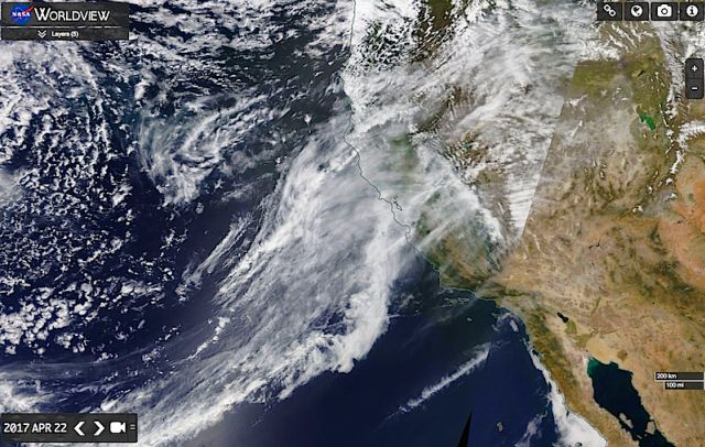 Aerosol Experiments Using Lithium & Psychoactive Drugs Over Oregon by Ann Fillmore PhD / and NASA Worldview: Southern California on April 22, 2017 | Metaphysical Musing