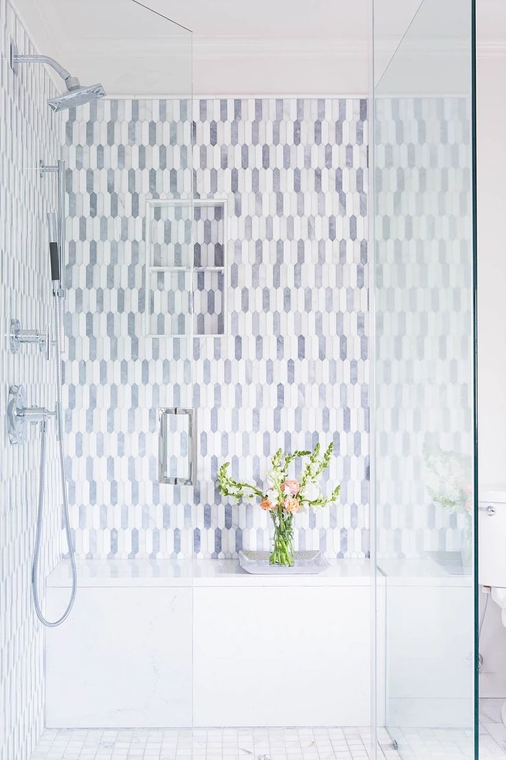 Lovely Picket Tile Mosaic In The Shower We Love The Mix