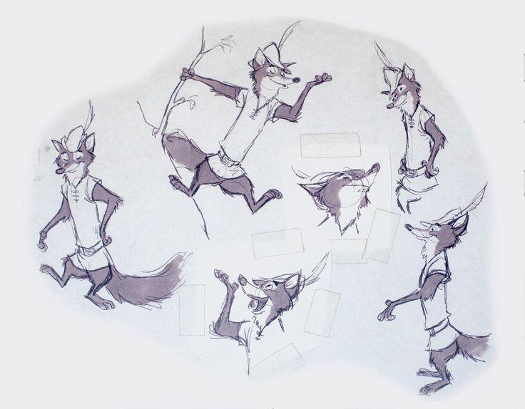 "Single Line Character Art : ""robin hood by milt kahl walt disney animation"