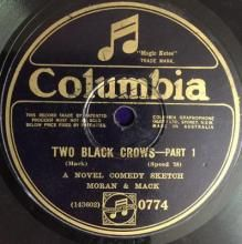 TWO BLACK CROWS - PART 1 / TWO BLACK CROWS - PART 2 ~ MORAN AND MACK 78 rpm