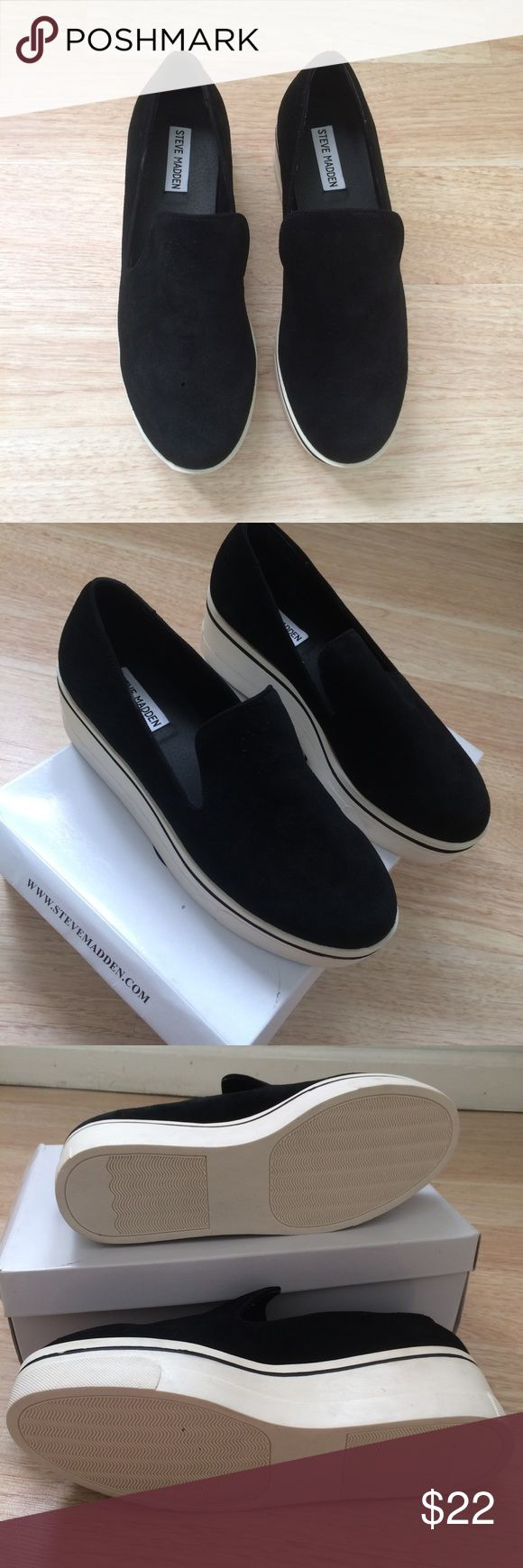 Steve Madden Black Suede Slip On Shoes From Steve Madden size 8.5 Black Suede High Platform Slip On Shoes in good condition bundle if interested   Tags Brandy Melville urban outfitters free people vans zara forever 21 H&M Steve Madden Shoes Sneakers
