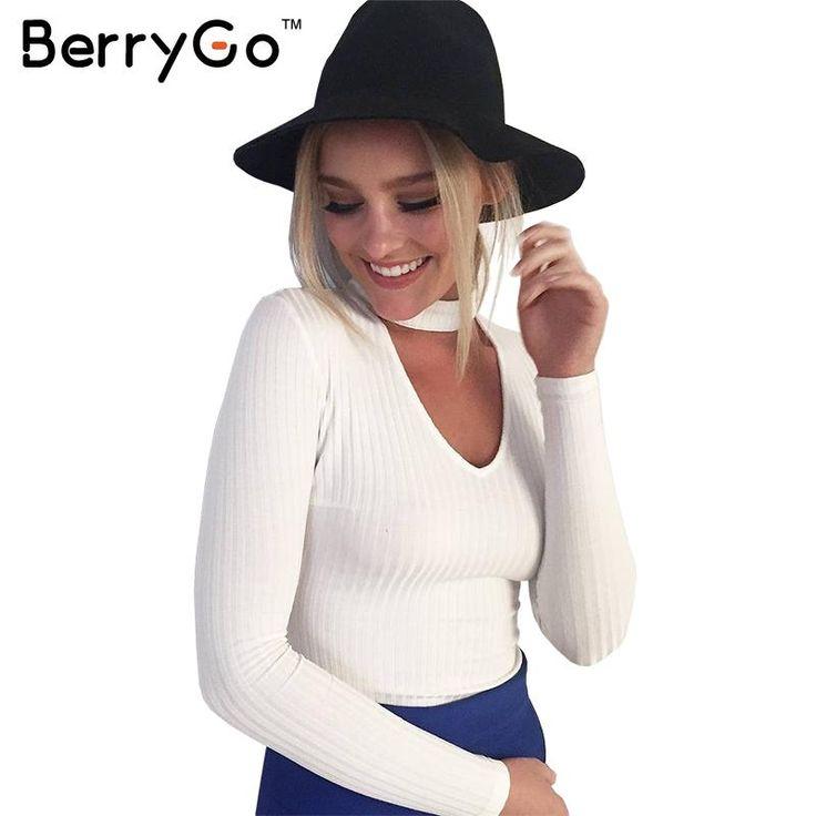 BerryGo Mùa Thu mùa đông đen halter dệt kim áo len Trắng sexy áo thun áo phụ nữ tops Slim v cổ dài tay áo chic jumper kéo femme