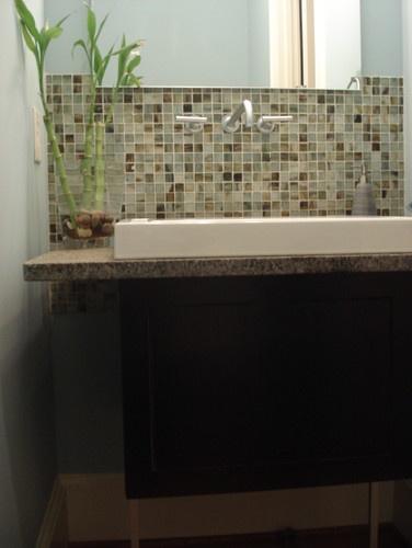 17 best images about bathroom remodel on pinterest for Innovative bathroom vanity backsplash ideas
