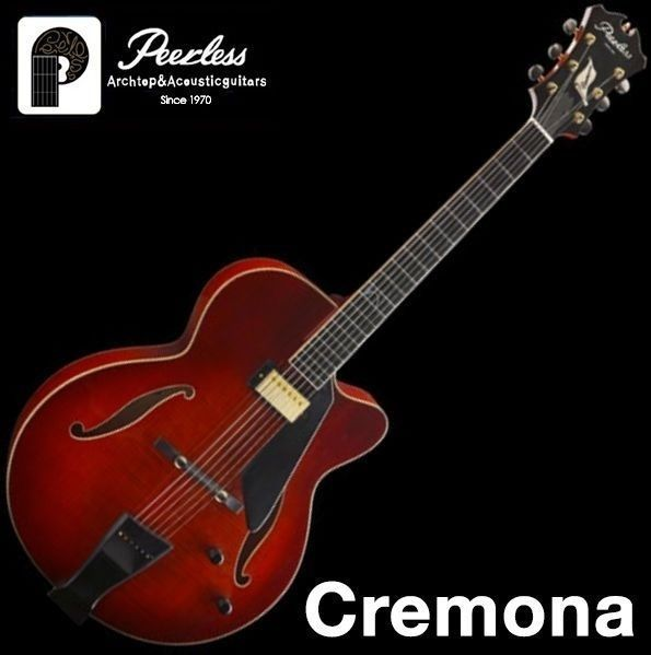 "Peerless Cremona Full Hollow Body Carved Jazz Electric Guitar 17"" Flame Maple #Peerless"