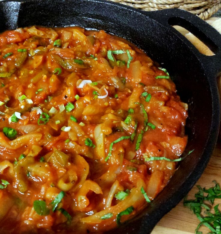 Chakchouka (also known as shakshouka) is similar to a tomato ratatouille. Tomatoes, onions, bell peppers and garlic are cooked in olive oil and reduce into a thick sauce. It is perfect for lunch or a light dinner. All you need is delicious crusty warm bread to mop up all that yummy goodness!