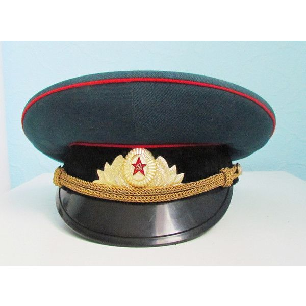Vintage Military Hat Cap Military Cap Soviet Army Cap Soviet Officer's... (42 CAD) ❤ liked on Polyvore featuring accessories, hats, military style hats, vintage military hats, vintage hats, cap hats and army cap