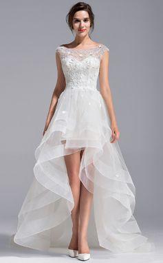 Forme Princesse Col rond Traîne asymétrique Tulle Dentelle Robe de mariée avec Emperler Fleur(s) (002071230)