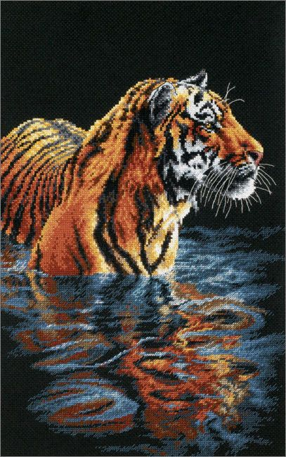Cross Stitch Tiger swimming