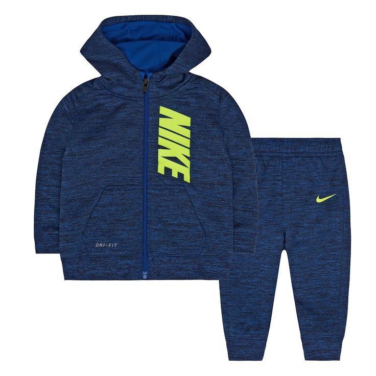 Baby Boy Nike Therma-FIT Space-Dyed Fleece Hoodie & Pants Set, Size: 12 Months, Med Blue