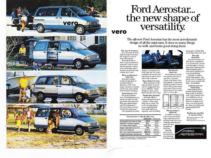 print ad FORD AEROSTAR car automobile 1986 Mini Van advertisement page vintage