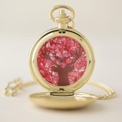 #gold - #Deer Silhouette Red Camo Gold Pocket Watch Men's