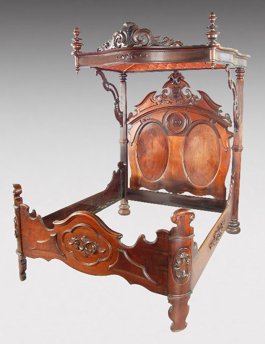181: Victorian Rococo Revival half-tester mahogany : Lot 181