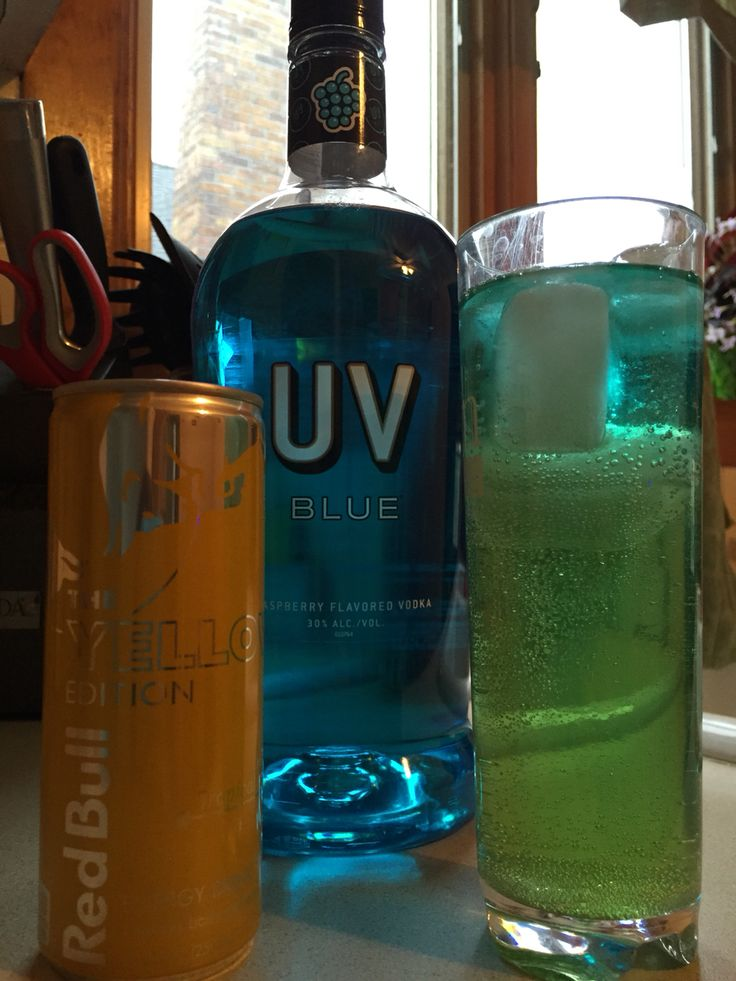 Uv Blue Raspberry Vodka and Red Bull Yellow Edition ...