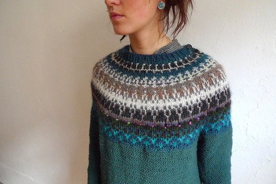 Handmade Icelandic style sweater by TASSSHA on Etsy
