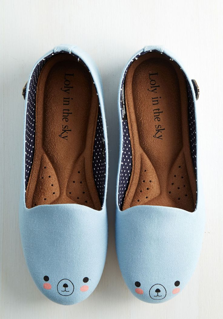 Oso Adorable Flat. These pale blue flats by Loly in the Sky are so darn cute, we can bear-ly stand it! #blue #modcloth