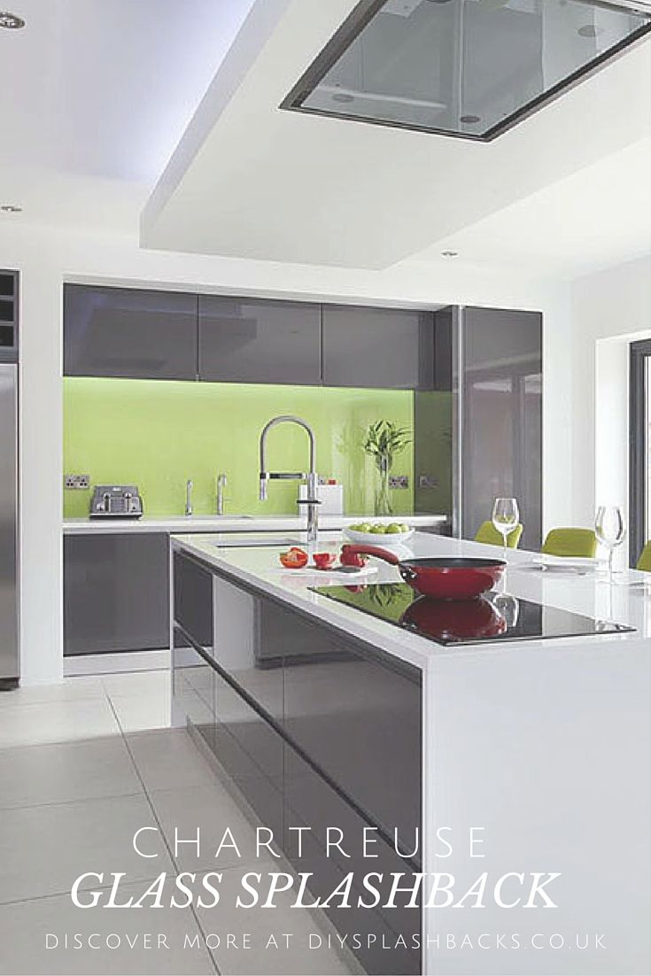 Chartreuse Green Glass Splashback In A Modern Gloss Kitchen Green